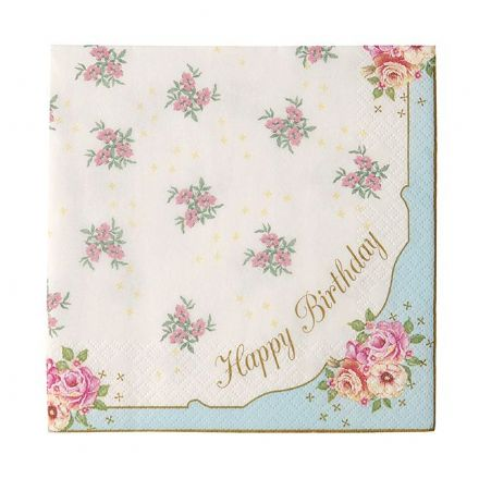 Pretty Vintage Floral HAPPY BIRTHDAY Napkins - pack of 20